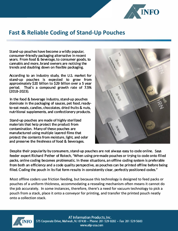 Fast Reliable Coding of Stand-Up Pouches